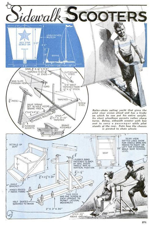 Sidewalk scooters article from Popular Mechanics Aug 1935