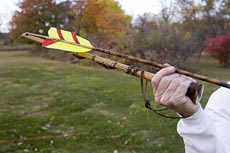 photo of atlatl chambered prior to throwing