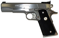 Photo of stainless steel Colt Gold Cup 1911 pistol
