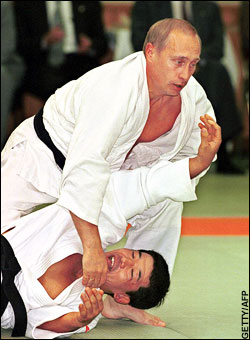Photo of Russian PM Putin practicing judo