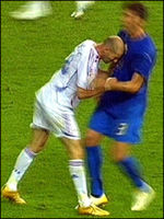 TV screen capture of Zidane head butt